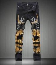 Fashion New Designer Man Painting Print font b Jeans b font Fashion Slim Black Long Trousers