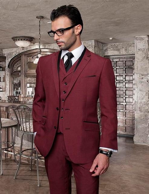 2018 Italian Custom Made Burgundy Men Wedding Suits Cheap Jacket+ ...
