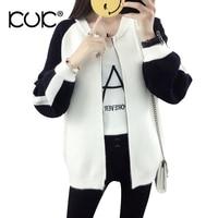 Kuk 2 Color Cardigan Feminino Knitted Sweater Women Winter Coat Oversized Outerwear Sueter Mujer Black White