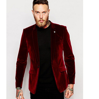 2017 new costume homme Groomsmen Notch Lapel Groom Tuxedos Velvet Red Jacket With Black Pants Mens Suits Wedding Best Men Suit
