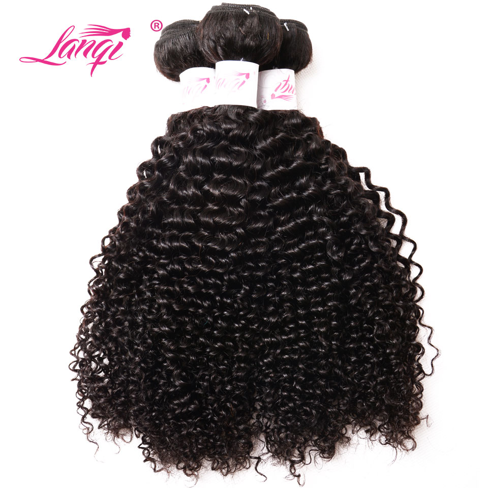 LanQi Brazilian Kinky Curly Wave 100% Human Hair Weave 3 Bundles Non Remy Hair Weaving 3Pcs/Lot Hair Extension Deals