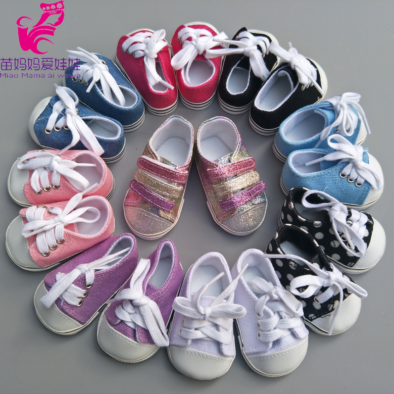 """White Canvas Sneakers Fits 18/"""" American Boy or Girl Doll Clothes Shoes"""