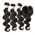 Peruvian Virgin Hair With Closure Virgin Peruvian Body Wave Human Hair Weaves 3 Bundle Deals with Closure
