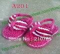 Crochet Do Bebê Sandálias, do bebê da menina Rose Red Flip Flops, sapatinho de Bebê Crochet... Feito à Ordem, 500 par/lote Frete Grátis