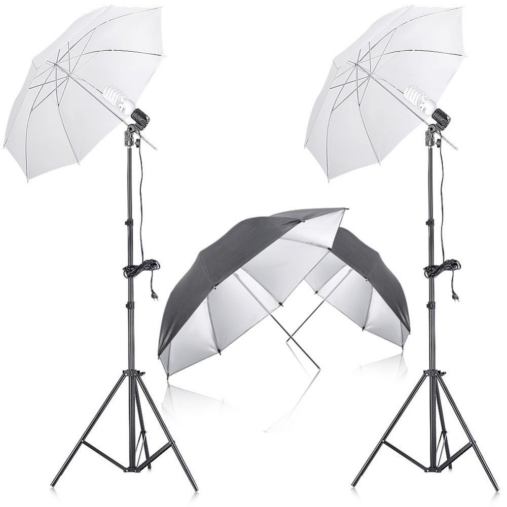 Neewer Photo Studio Continuous Lighting Umbrella Kit with Reflector Umbrella For Portrait Photography Studio Video Recordi neewer table top mini led ring light lighting kit includes for beauty blog make up selfie studio portrait video photography