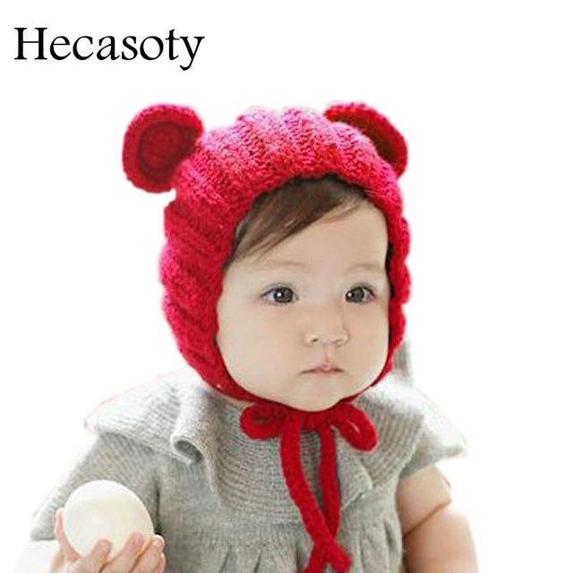 81cc82a36 US $4.98 40% OFF|Baby Hats Autumn Winter Lovely Earmuffs Warm Knitted Caps  for Infant Boys Girls Baby Accessories Soild Color Handmade Cap & Hats-in  ...