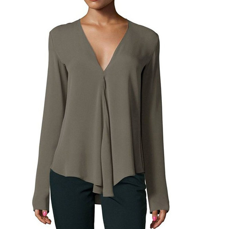 blusas mujer de moda 2019 spring long sleeve v-neck blusas mulher elegantes chiffon   blouse     shirts   plus size women 4xl 5xl 6xl