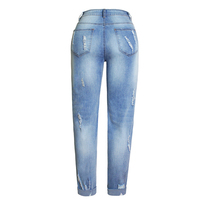 2017 Europe and the United States new women stretch loose jeans women trousers color flowers 3D stereo embroidery holes jeans (8)
