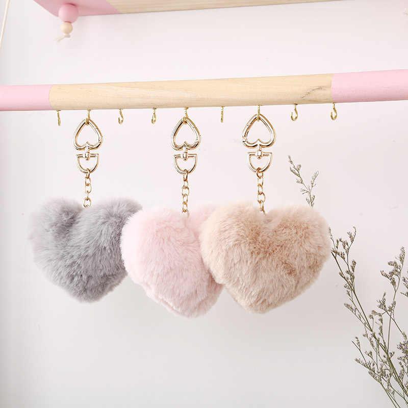 2019 Simple key Ring Hair Ball Fluffy Pom-pom Artificial Rabbit Fur Animal key Chain Women Car Bag key Bag DIY Jewelry Pendant