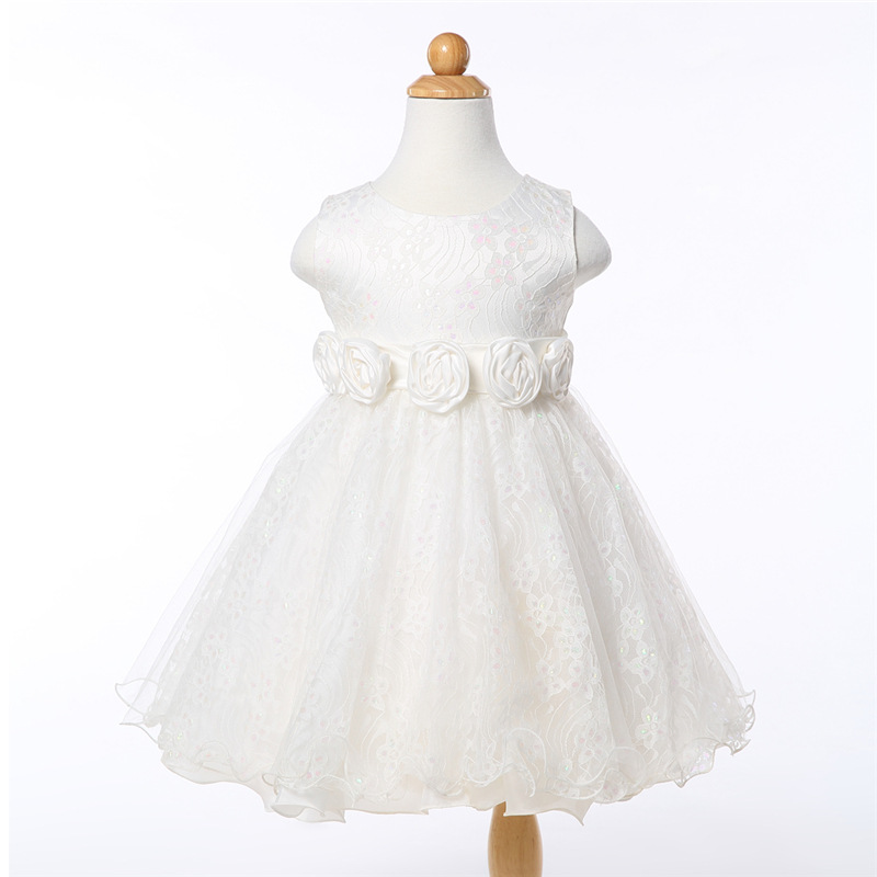 Simple Elegant Lovely Flower Girl Dresses Handmade Flower Bow Ruffles Lace Appliques O-neck Girl Special Occasion Dresses