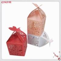 100 قطع الزفاف كاندي صندوق الزفاف متعددة الأنماط حلويات هدية مربع مع الشريط حفل زفاف استحمام الطفل الهدايا 6ZT84