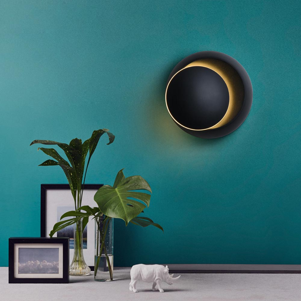 Nordic Moon Eclipse Rotation Wall Hanging Lamp 3D Wall Lamp Bedroom Living Room Led Sconce Light Fixture Art Home Decor White image
