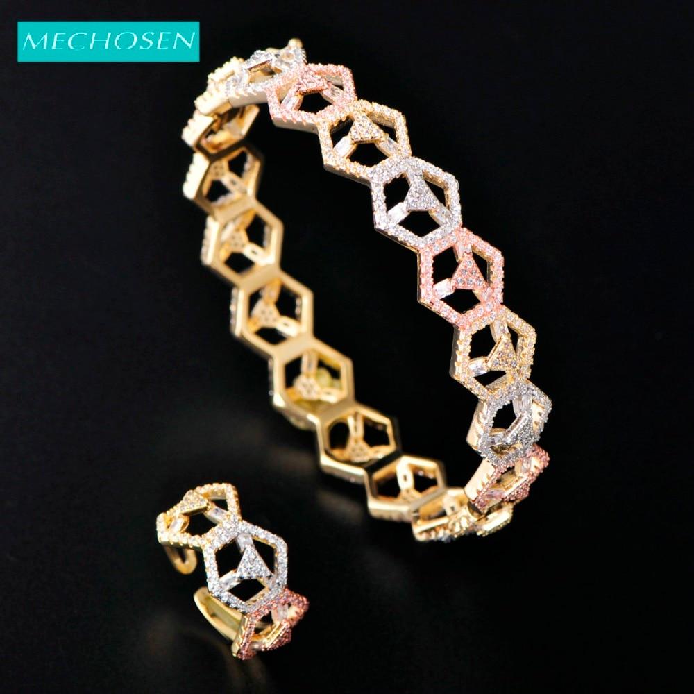 Ensemble de bijoux Fine géométrie délicate meselected adapté pour les femmes brillant CZ Zircon 2/pc bracelet anneau ensemble de mariage de mariée meilleurs cadeaux ensemble