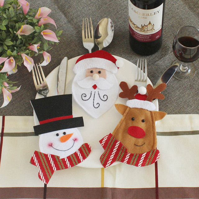Holders Pockets Knifes Forks Bag Santa Snowman Table Decorations Christmas Creative Cutlery Cover