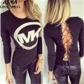 2017 New Fashion Autumn O-Neck Long Sleeves Back Lace-up Tops Hollow-out Letters Print Black Sexy Cotton Blend T-shirt Size S-XL