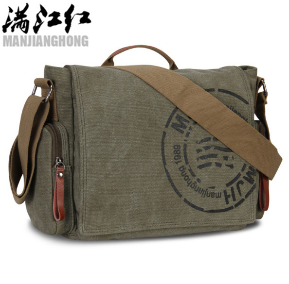 MAN Handbag Messenger-Bag Shoulder-Postman-Bag Canvas Crossbody Vintage Casual Printing