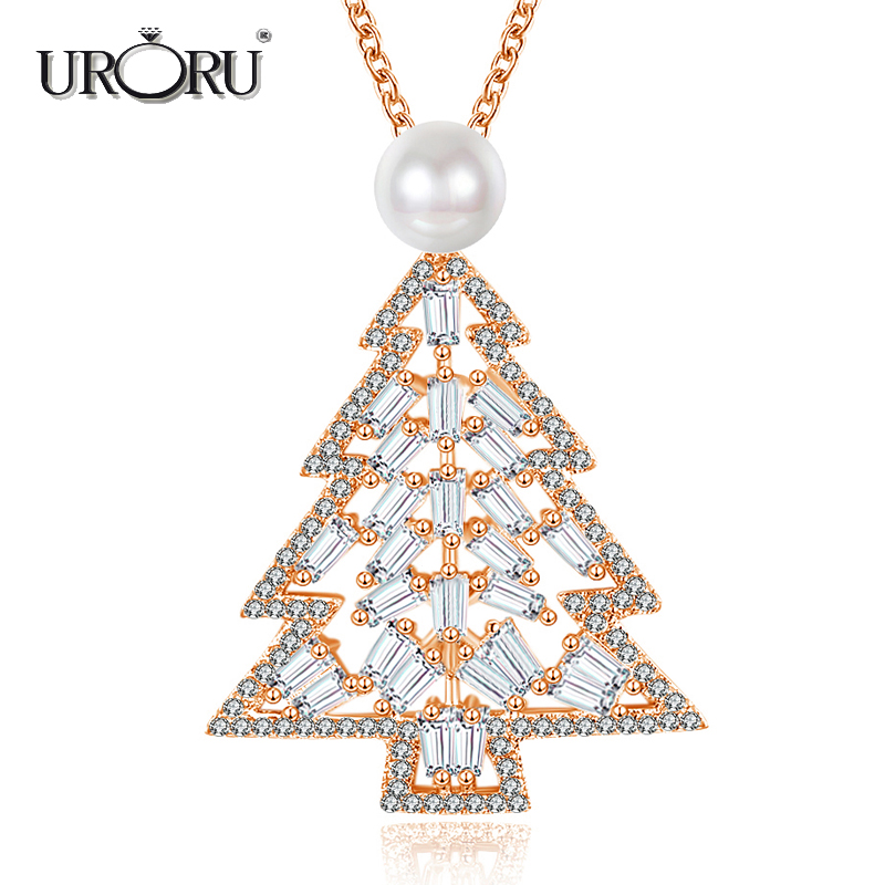 URORU Necklace, Fashion Luxury Snowy Pearl & AAA Silver Clubic Zriconia Jewelry Chritmas ...