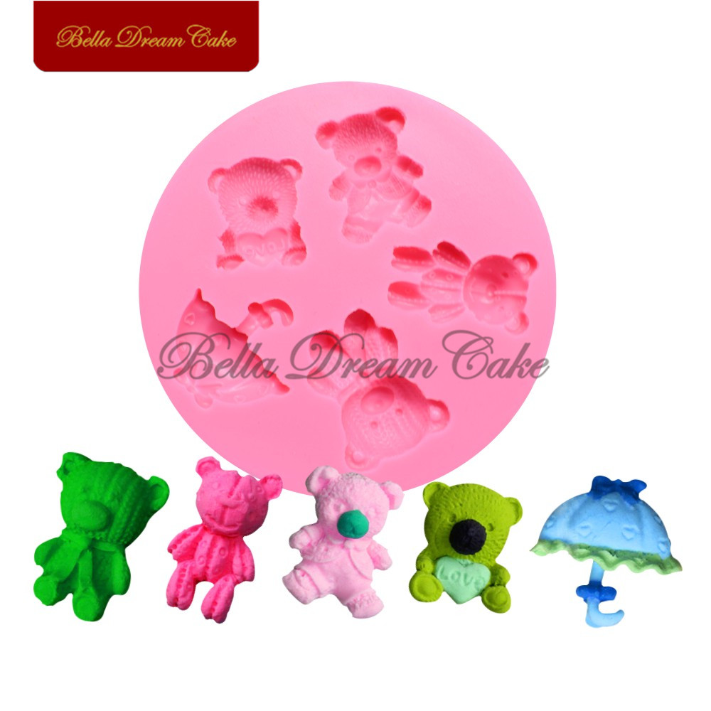 3D Baby Toy Bear Silicone Mold Umbrella Fondant Sugarcraft Cake Molds Cake Decorating Tool Chocolate Mould Bakeware SM-1623