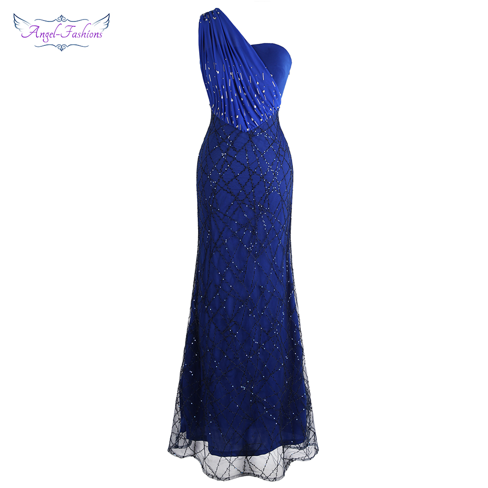 Angel-fashions Women's One Shoulder   Evening     Dresses   Pleat Beading Sequin Mermaid Party Gown Blue 391