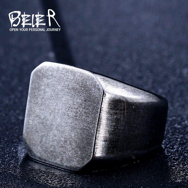 Beier punk style 316L Stainless Steel ring top quality old style Biker Ring for men fashion Jewelry LLBR8-453R