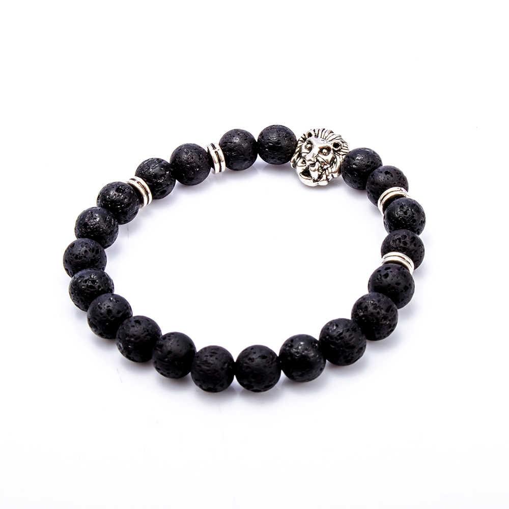 Новый дизайн мужской черный матовый Лава камень золотой и серебряный цвет голова льва браслет из бисера манжета эластичный браслет Pulseras Hombre
