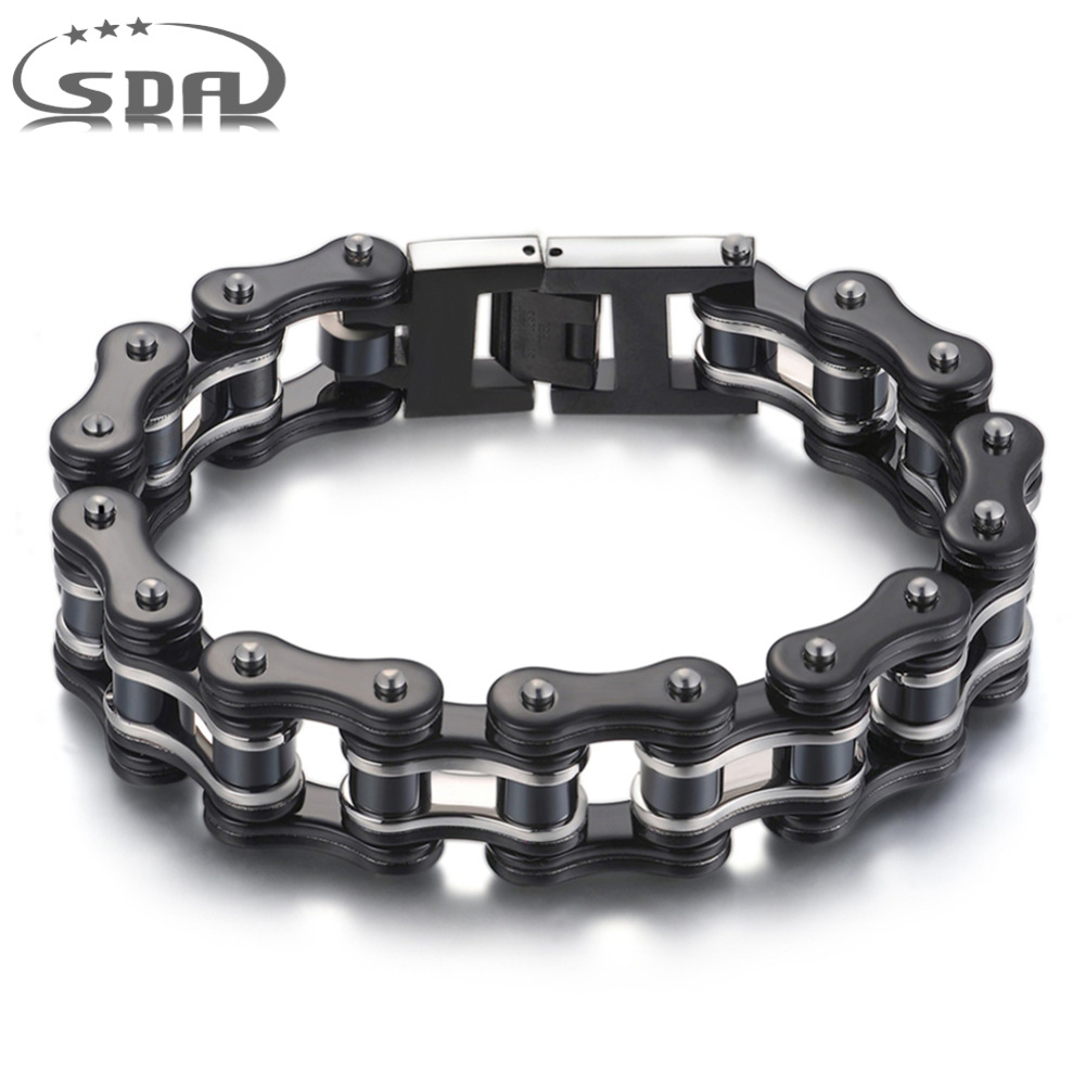 SDA 316L stainless steel Jewelry Fashion Men Bracelets& Bangles black 16mm width Mixed style Punk Rock Jewelry 7.5