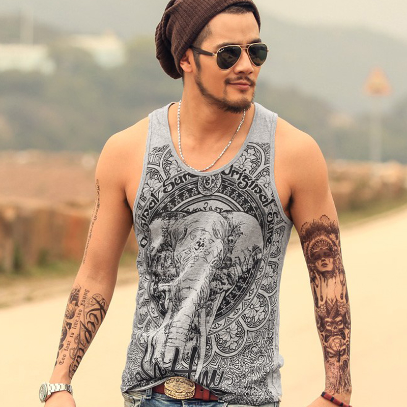 2018 Men Printed Casual High Quality Tank Top Men New Fashion Cotton Joggers Vest Men Hot Sale Summer Beach Tank Top