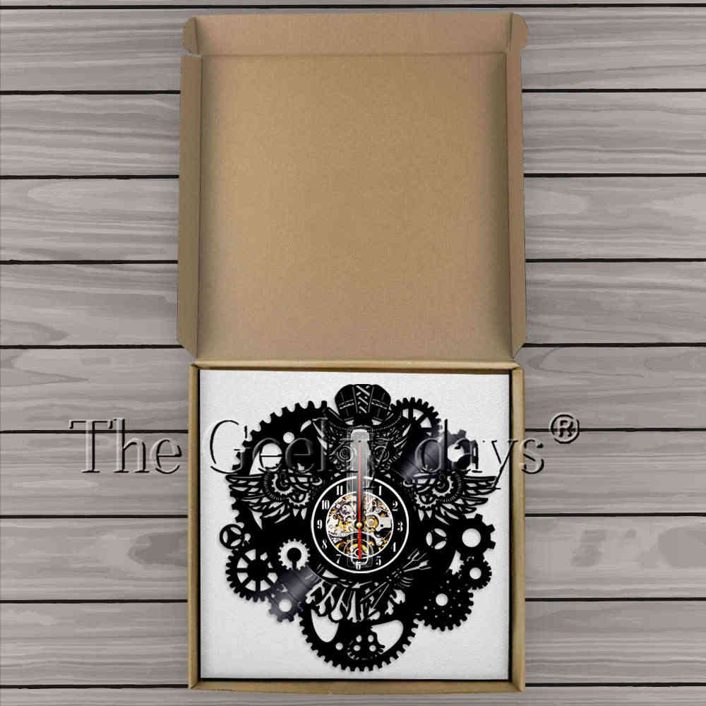 Steampunk Vinyl Record Jam Dinding Owl Steampunk Furniture Steampunk Owl Dekorasi Ornamen Gothic Gigi Dinding Seni Dekorasi Hadiah Jam Dinding Jam Dindingvinyl Record Jam Aliexpress
