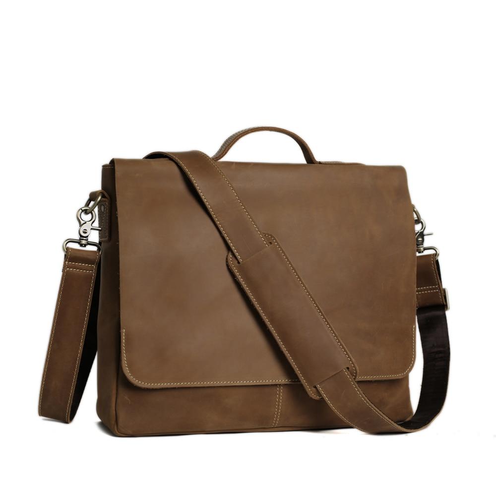 ROCKCOW Laptop supë çanta prej lëkure origjinale, qese crossbody, - Çanta dore - Foto 2
