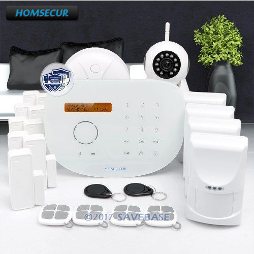 HOMSECUR Wireless&wired GSM Burglar Intruder Alarm System with 4 Pet-Immune PIR ...