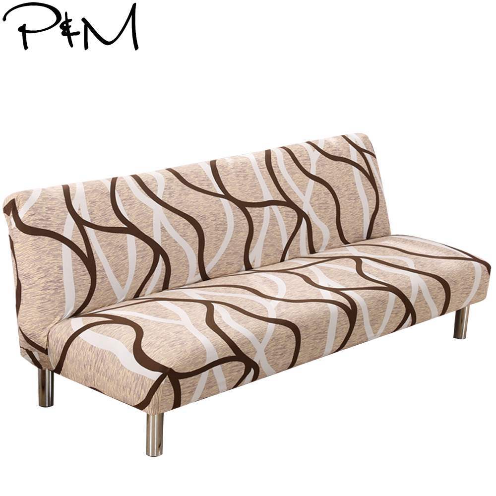 P&M Checkered Lines Print Stretch Sectional No armrests Sofa Covers Polyester fabric Soft Slipcovers Elastic Couch Cover