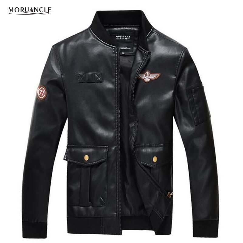 Buy Cheap MORUANCLE Men s Leather Bomber Jackets Slim Fit Black Flight Suede  Windbreaker Varsity Jacket Male Big Pockets Plus Size M 4XL Price 3fc09567b2