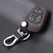 Capa de chave de carro controle remoto, chave de carro controle remoto de 3 botões de couro genuíno para mercedes benz b e ml s capa chave do clk cl