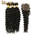 7A Brazilian Deep Curly Virgin Hair With Closure Brazilian Virgin Hair 3 Bundles With Closure Brazilian Deep Wave With Closure