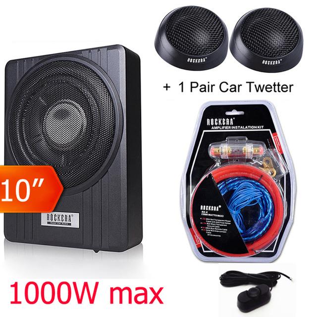 10″ Car Speaker Max 1000w Car Under Seat Slim Subwoofer Super Bass active Woofer Built-in 150W Amplifer Wi/ Remote control