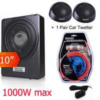 10 haut-parleur de voiture Max 1000 w voiture sous siège caisson de basses mince Super grave actif Woofer intégré 150 W Amplifer Wi/télécommande