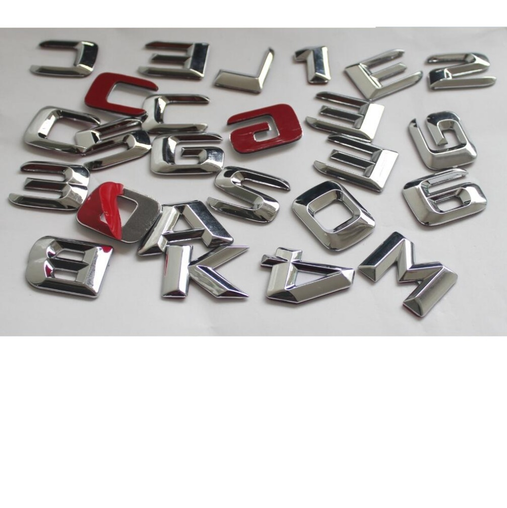 Chrome Plastic Car Trunk Rear Letters Number Badge Emblem Emblems Sticker for Mercedes Benz AMG A C E G S CLK GLE ML GLK Class