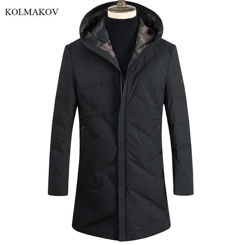 New Arrival Winter Style Men Boutique Leisure Black   Down     Coats   Business Casual Hooded Black Slim Thick Warm   Down     Coat   Size M-3XL