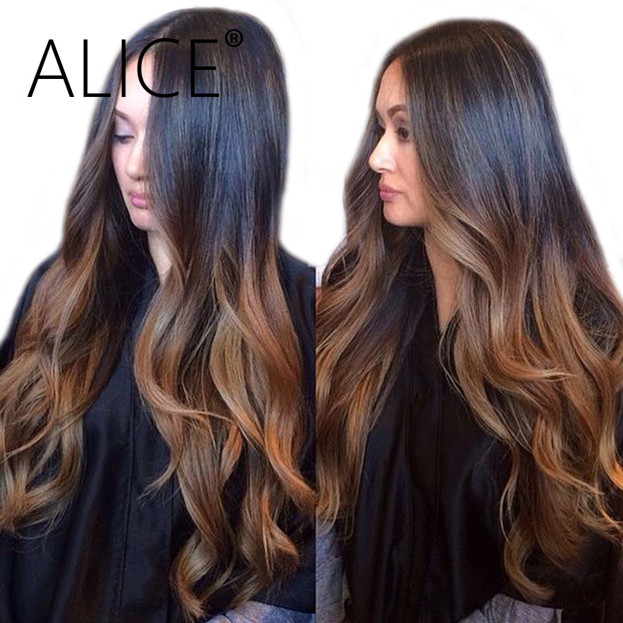 ALICE Body Wave Lace Front Wig With Baby Hair Ombre Human Hair Wig Pre Plucked Remy Hair Glueless Lace Front Human Hair Wigs (China)