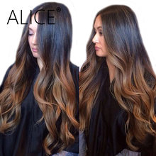 ALICE Body Wave Lace Front Wig With Baby Hair Ombre Human Hair Wig Pre Plucked Remy Hair Glueless Lace Front Human Hair Wigs(China)