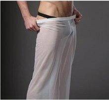 Sexy Men Transparent Loose Mesh Sheer Lounge Pants Loose-fitting Pants Pyjama Trouser Sleep Pant Black White