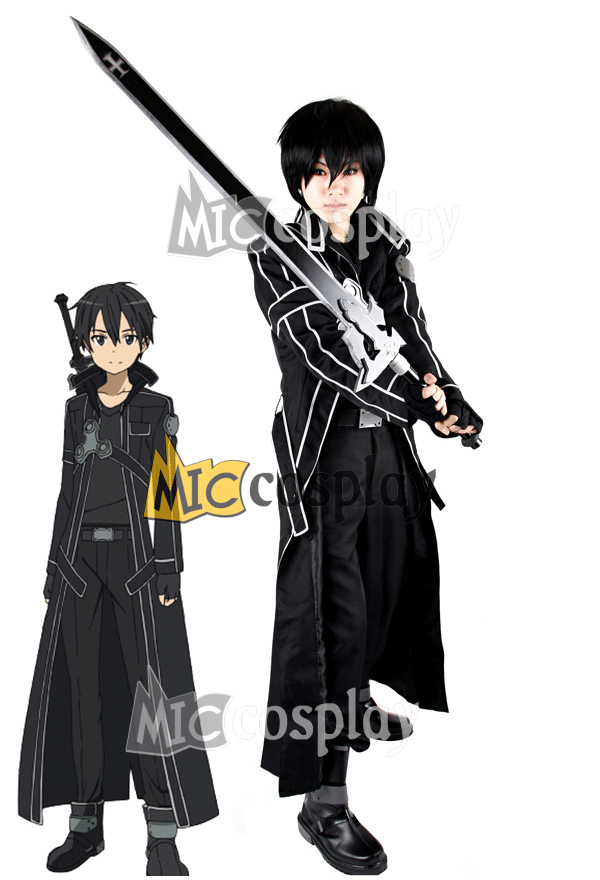 Anime New Hot Sword Art Online Kirito Czarny kostium Halloween Party
