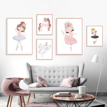 Ballet Princess Nursery Nordic Poster Unicorn Wall Art Canvas Painting Swan Pictures For Children Room Kid Cuadros Unframed