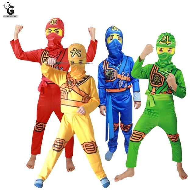 Ninjago Đảng Trang Phục Nam Quần Áo Bộ Siêu Anh Hùng Cosplay Ninja Trang Phục Cô Gái Bên Halloween Ăn Mặc Trẻ Em Dresses cho Bé Trai