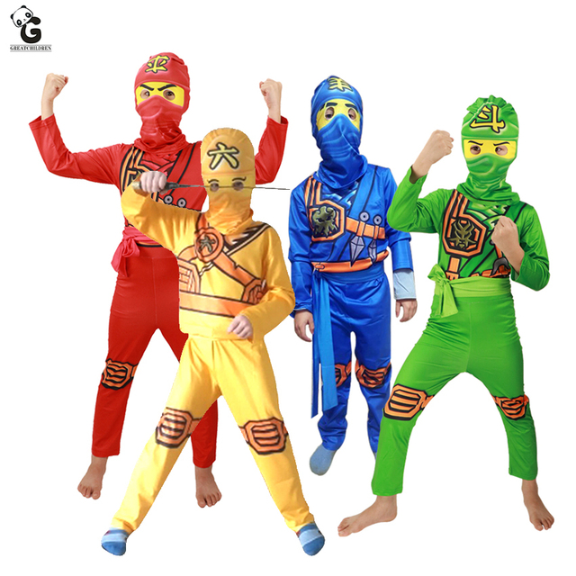 Trajes Do Partido Meninos Conjuntos de Roupas de Cosplay de Super-heróis Ninja Ninjago Meninas Traje Festa de Halloween Vestir Vestidos Infantis para Meninos