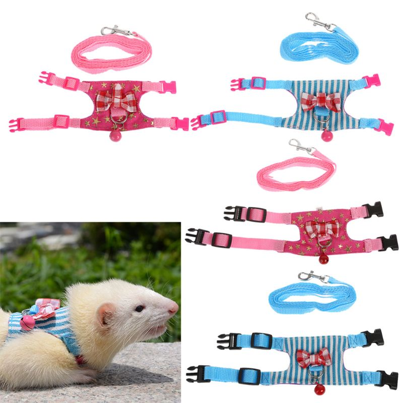 Hamster Rabbit Harness Leash Set For Ferret Guinea Pig Small Pet Chest Strap