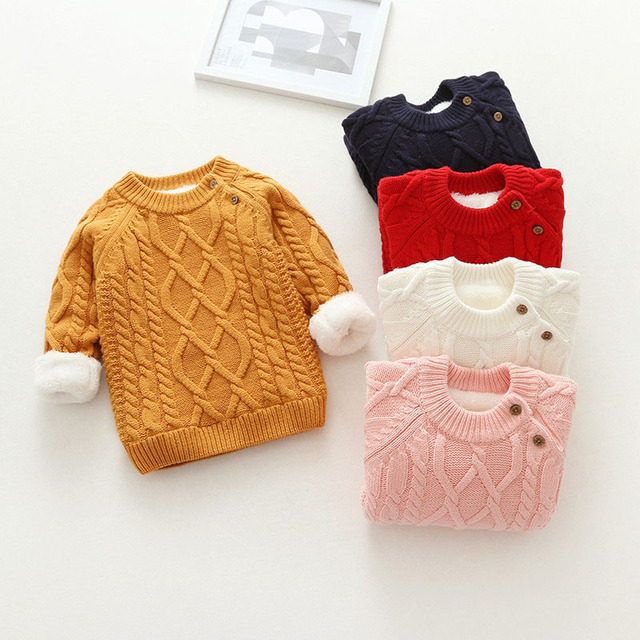 36d003e14e6ac sweaters children's clothing velvet fur tops 2018 winter kids girl clothes  2 years toddler knitted jumper baby boy knitwear