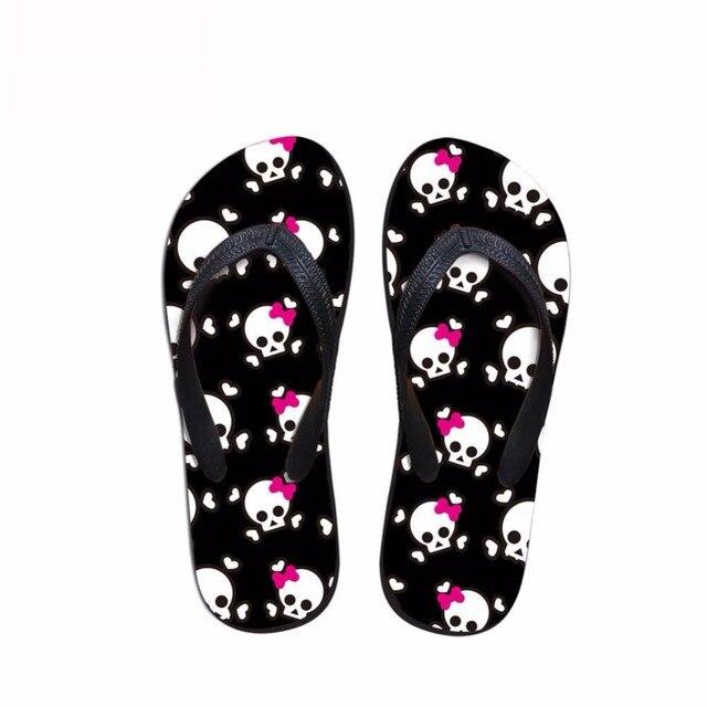 f73ce13ffc5b7 Noisydesigns Men s flip-flops boys platform sandals male black funny skull  print beach footwear slide shoes flip flops slippers