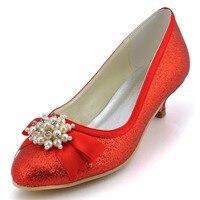 EP2101สีแดงเย็นพรรคสตรีพรหมอัลมอนด์นิ้วเท้าส้นต่ำG Litter PU Plearsแต่งงานรอง