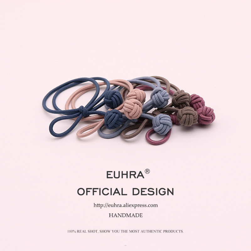 EUHRA 5 Colors Elastic Hand Knotted Ball For Women Hair Band Kid Children Rubber Band High Elasticity